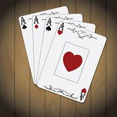 picture of ace spades  - Ace of spades ace of hearts ace of diamonds ace of clubs poker cards set varnished wood background - JPG