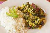 stock photo of okras  - Indian vegetarian fried okra with basmati rice - JPG