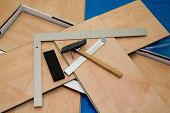 DIY project: laminate floor and tools used