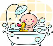 stock photo of tub  - Baby in the bath tub - JPG