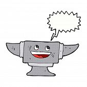 stock photo of anvil  - cartoon blacksmith anvil with speech bubble - JPG