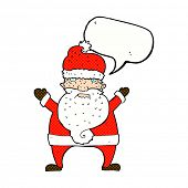 foto of ugly  - cartoon ugly santa claus with speech bubble - JPG
