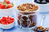 picture of strawberry  - granola with nuts goji berries and strawberries  - JPG