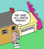 picture of spare  - Cartoon of man and huge key at side of house - JPG