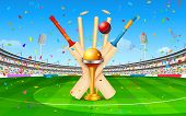 picture of cricket ball  - illustration of stadium of cricket with bat - JPG