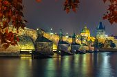 image of old bridge  - Charles Bridge and Old Town bridge tower at night in Prague - JPG