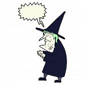 pic of ugly  - cartoon ugly old witch with speech bubble - JPG