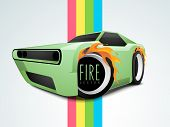 image of color wheel  - Stylish car wheels with fire flame on colorful paper stripes - JPG
