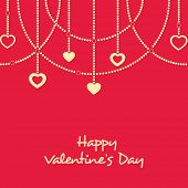 image of corazon  - Elegant greeting card design with stylish hanging hearts on red background for Happy Valentine - JPG