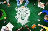 stock photo of blackboard  - Blackboard Brainstorming Cooperation Planning Meeting Strategy Sharing Concept - JPG