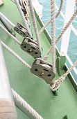 image of pulley  - the many Yacht Pulley Blocks and Ropes - JPG