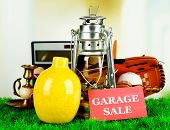 picture of yard sale  - Unwanted things ready for a garage sale - JPG