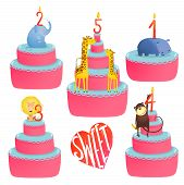 stock photo of sweetie  - Colorful sweeties with holiday childish candles - JPG