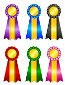 pic of rosettes  - Set of elegant blank award ribbon rosettes in shiny purple blue green black pink and red with gold colors isolated on white background - JPG