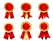 picture of rosettes  - Collection of different shaped blank award ribbon rosettes in shiny red  gold  golden isolated on white - JPG