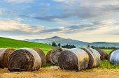 stock photo of haystack  - Haystack at sunset - JPG