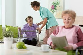 pic of social housing  - Disabled senior women staying in care home - JPG