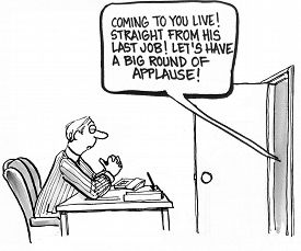 pic of applause  - Cartoon of interviewee making a loud announcement - JPG