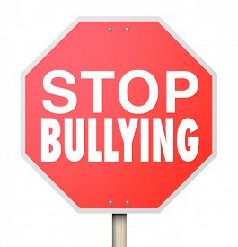 image of stop fighting  - Stop Bulling words on a red road or street sign to prevent children from picking on - JPG