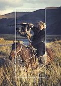 picture of mongolian  - Horseman Riding Equestrian Mongolian Culture Concept - JPG