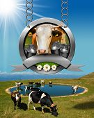 image of mountain chain  - Dairy products sign with head of cow cans of milk green grass and daisy flowers - JPG