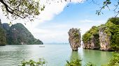 stock photo of james bond island  - High angle view beautiful landscape sea and sky at view point of Khao Tapu or James Bond Island in Ao Phang Nga Bay National Park Thailand 16 - JPG