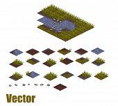 stock photo of garden-art  - Pixel art river and grass sprite tileset - JPG