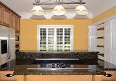 pic of refrigerator  - The cooktop and counter in a kitchen showing a pantry refrigerator cabinets and window with shutters - JPG