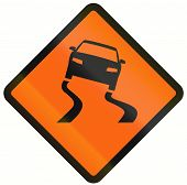 image of slippery-roads  - Indonesian temporary road warning sign - JPG