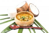 stock photo of thai cuisine  - Green pork Curry and Coconut and coconut milk - JPG