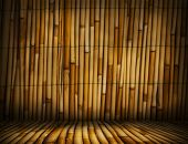 Постер, плакат: Bamboo Bamboo room Bamboo interior Bamboo studio template Old Bamboo background for montage or prod