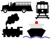 Постер, плакат: Ассорти из транспортных средств символы