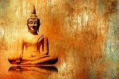 Buddha image in lotus position in grunge orange gold painting style - meditation background poster