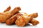 stock photo of fried chicken  - Chicken legs on the white - JPG