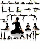 picture of fighter-fish  - Several vector yoga postures of sun - JPG