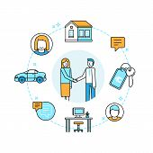 Vector Illustration In Trendy Flat Linear Style - Sharing Economy And Collaborative Consumption poster