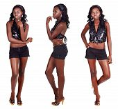 stock photo of bare midriff  - beautiful African American model with fit slim body wearing shorts and sequin party top on white background in three different poses - JPG