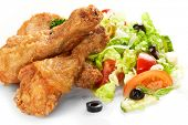 picture of fried chicken  - Chicken legs with fresh vegetables - JPG