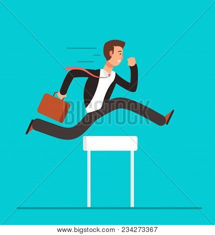 poster of Businessman Jumping Over Hurdles. Business Challenge, Successful Overcoming Vector Concept. Business