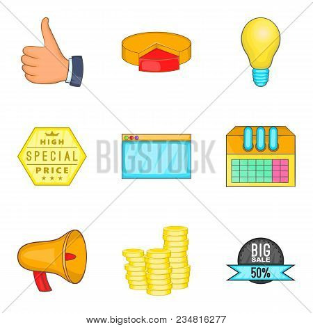 Business Undertaking Icons Set Cartoon