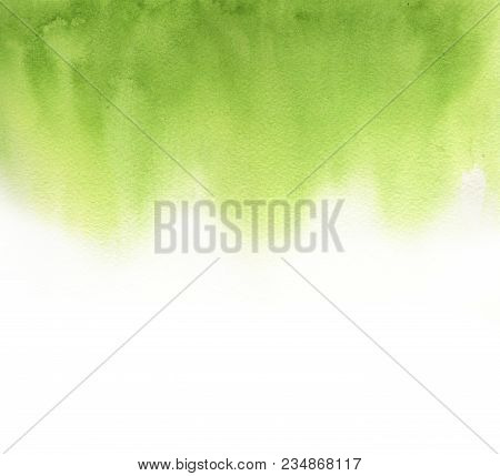 poster of Abstract Green Watercolor On White Background. The Color Splashing In The Paper. It Is A Hand Drawn.
