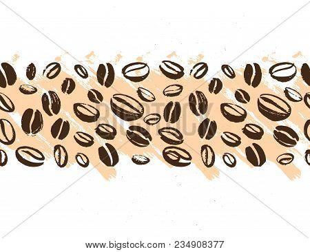 poster of Vector Seamless Coffee Backdrop Design With Hand Drawn Coffee Beans Isolated On White Background. In