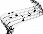 image of musical note  - music notes on soft flowing grey curves - JPG