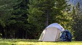 Tourist Camp On Green Meadow With Fresh Grass In Carpathian Mountains Forest. Hikers Tent And Backpa poster