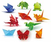Origami. A Set Of Origami. Set Origami Butterfly, Crane, Frog, Elephant, Dragon, Ship, Dinosaur, Fox poster