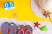May 5th. Image Of May 5 Calendar With Summer Beach Accessories. Spring Like Summer Vacation Concept. poster