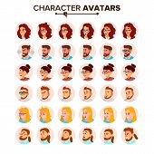 Business People Avatars Set Vector. Man, Woman. Face, Emotions. Default People Character Avatar Plac poster
