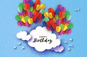 Flying Paper Cut Balloons In Paper Cut Style. Colorful Decoration For Party, Celebration, Banner, Ca poster