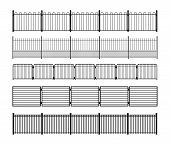 Set Of Different Simple Modular Metal Fence Silhouettes. Vertically Seamless Metal Fence Elements. B poster