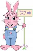 picture of buck teeth  - Easter Bunny holding a sign reading  - JPG